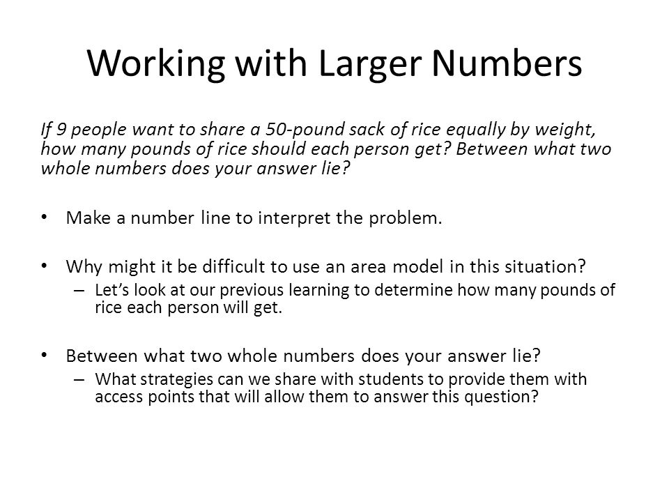 Working with Larger Numbers