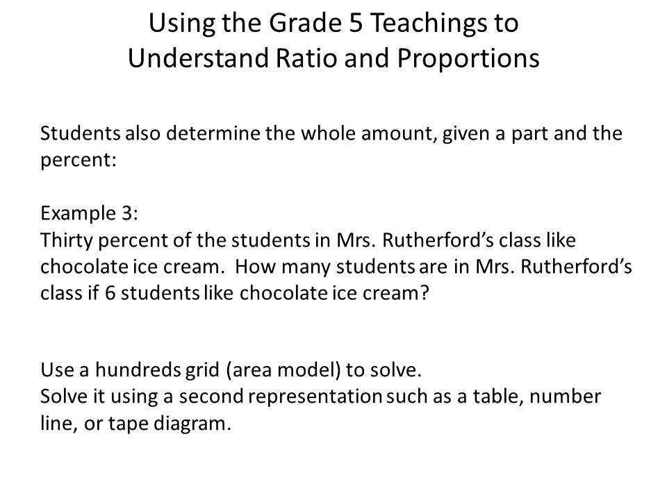 Using the Grade 5 Teachings to Understand Ratio and Proportions