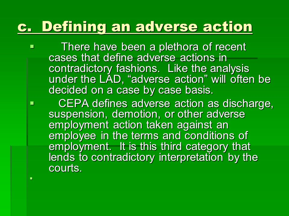 c. Defining an adverse action