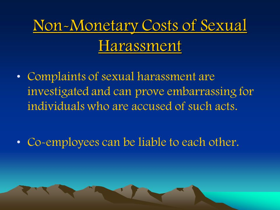 Non-Monetary Costs of Sexual Harassment