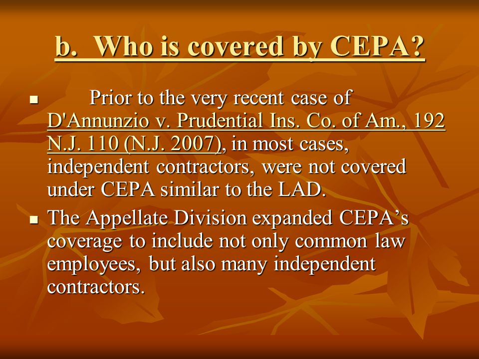 b. Who is covered by CEPA