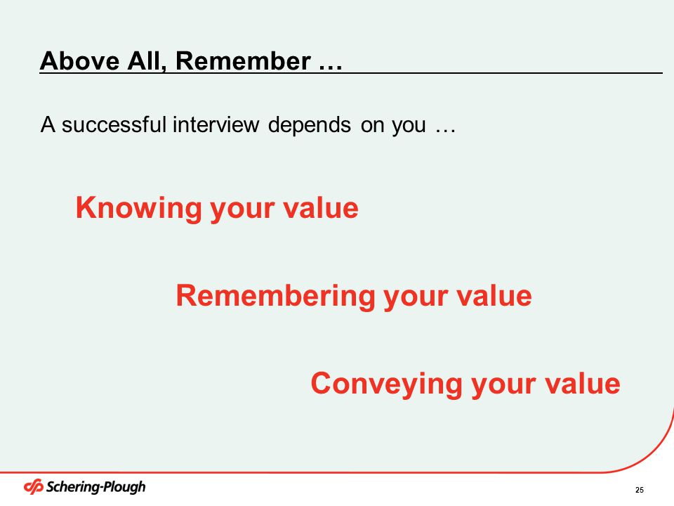 Remembering your value Conveying your value