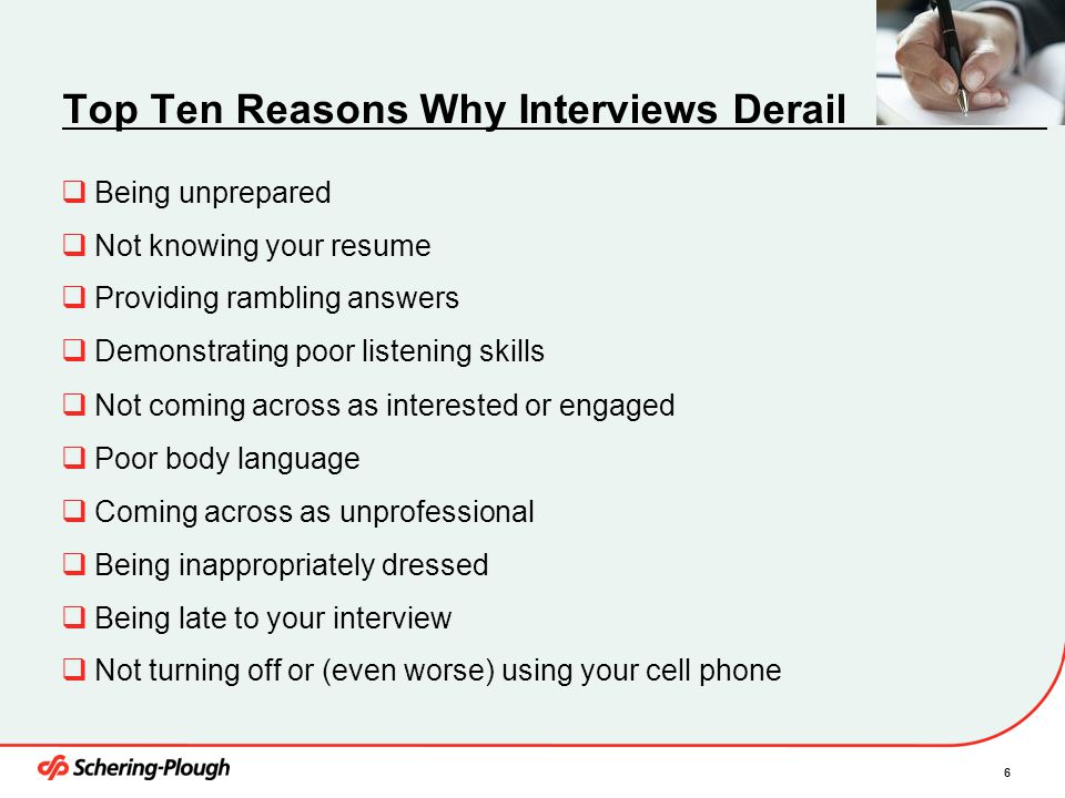 Top Ten Reasons Why Interviews Derail