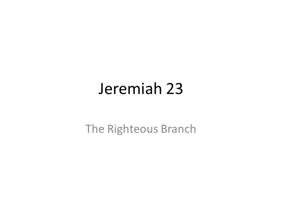 Jeremiah 23 The Righteous Branch 364