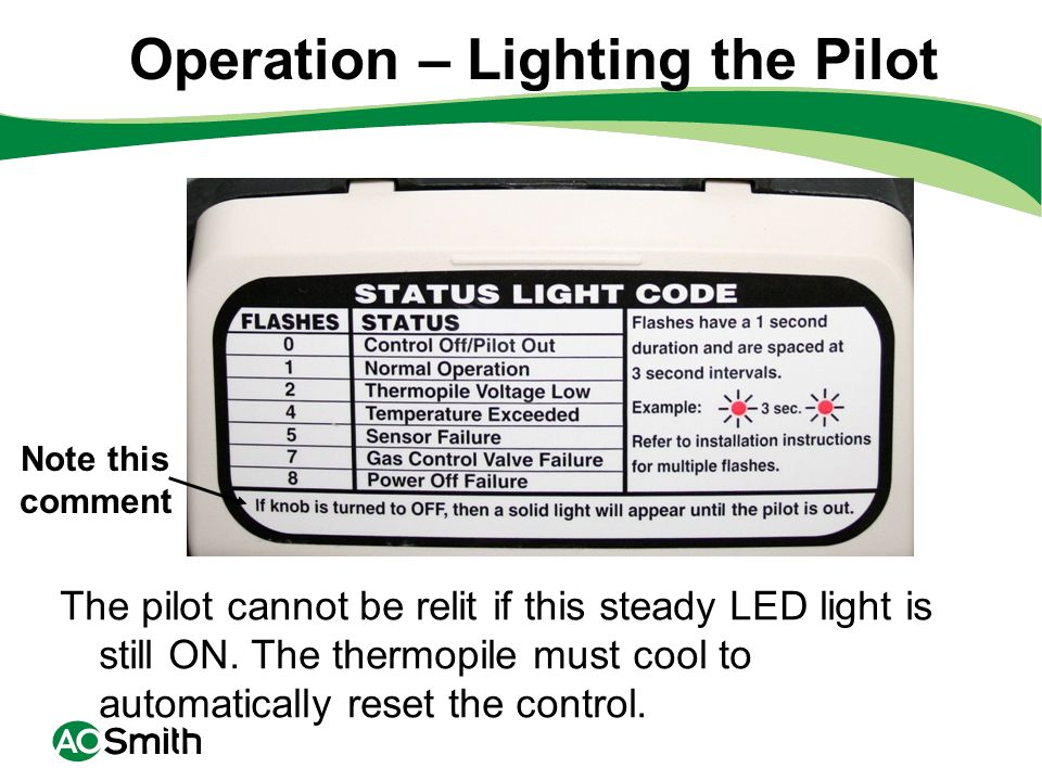 Operation – Lighting the Pilot