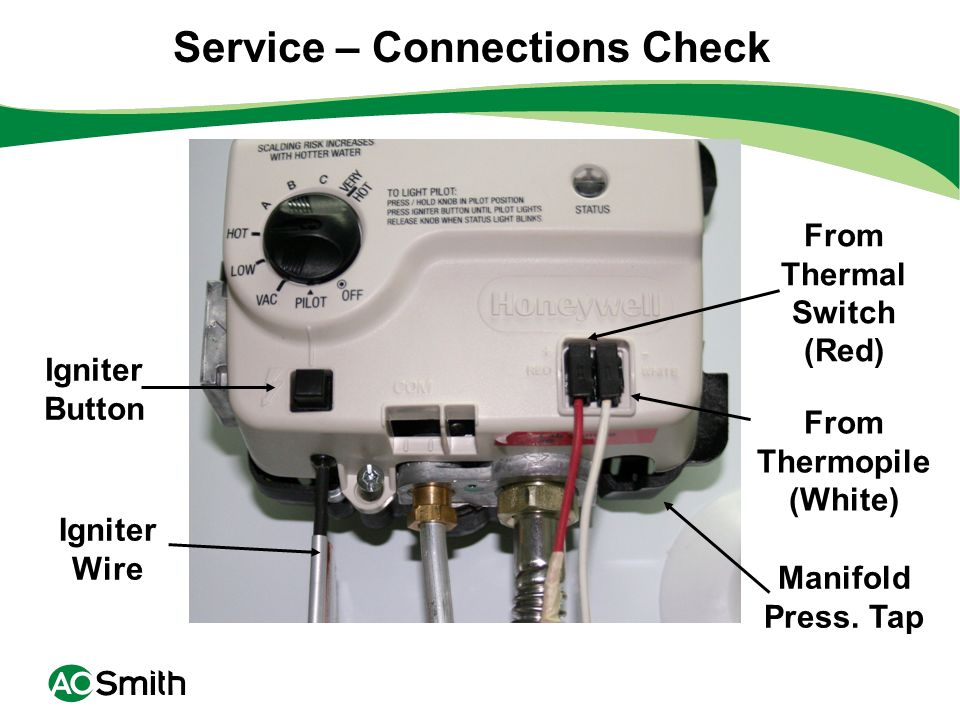 Service – Connections Check From Thermal Switch (Red)