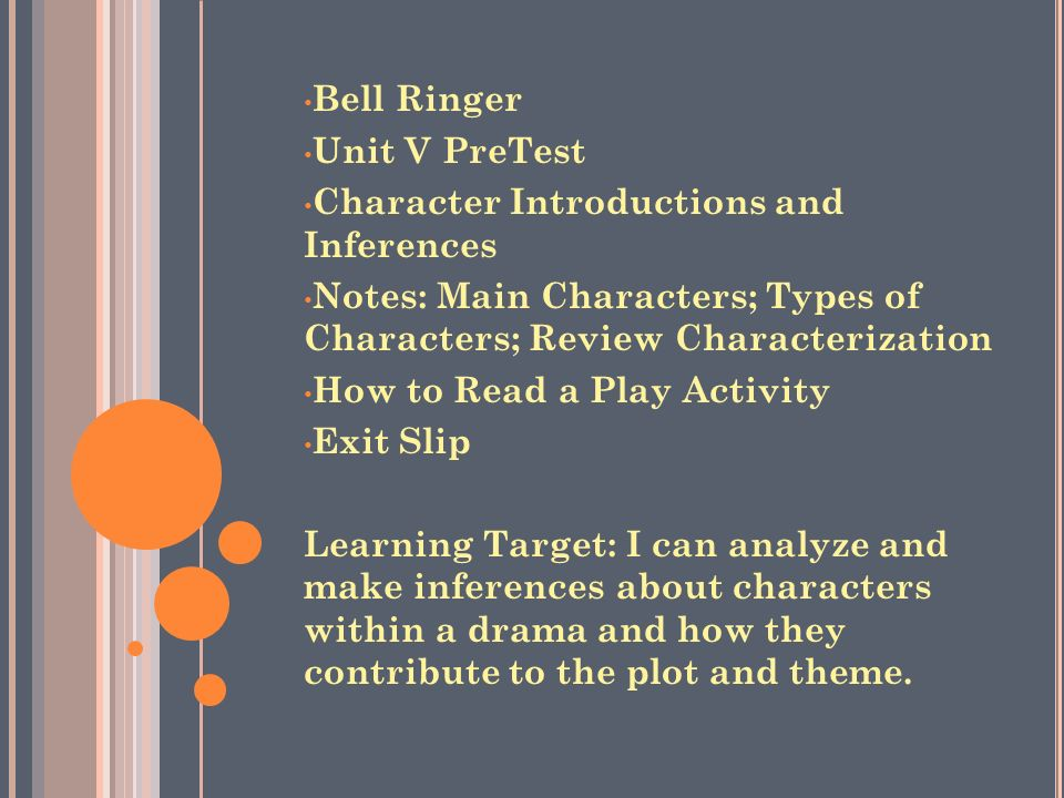 Bell Ringer Unit V PreTest. Character Introductions and Inferences. Notes: Main Characters; Types of Characters; Review Characterization.