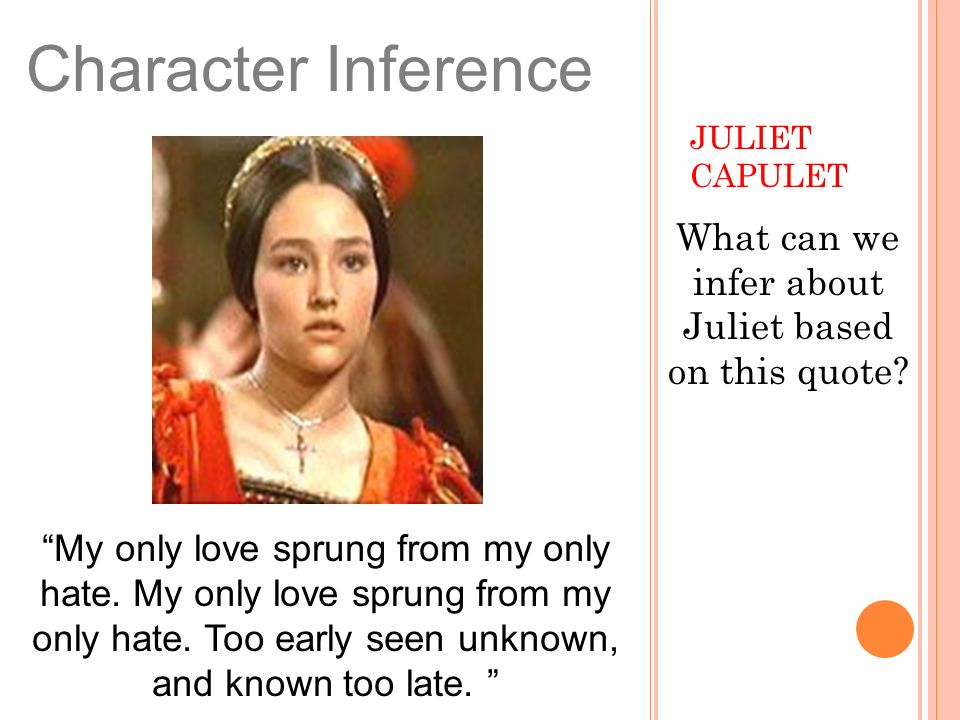 What can we infer about Juliet based on this quote