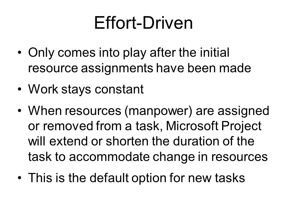 Effort-Driven Only comes into play after the initial resource assignments have been made. Work stays constant.