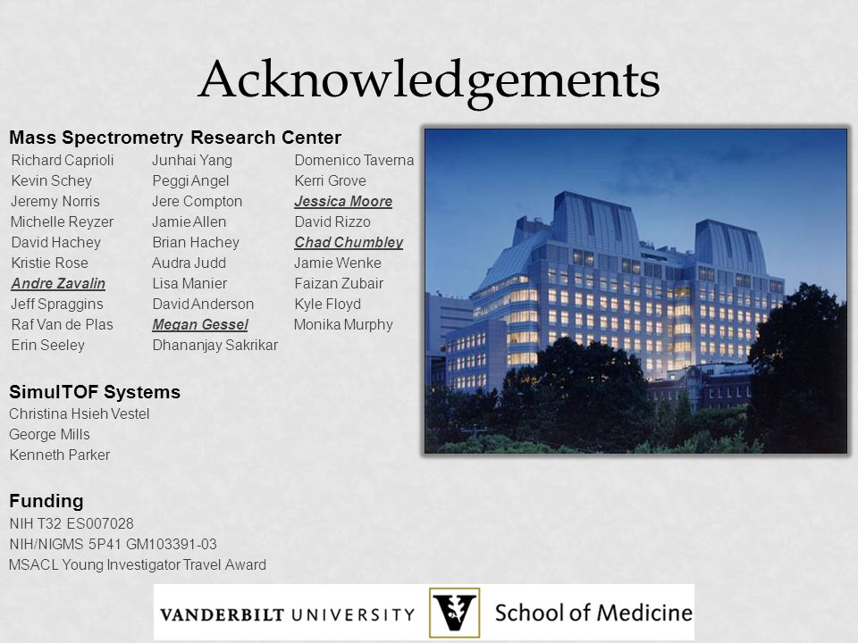 Acknowledgements Mass Spectrometry Research Center SimulTOF Systems