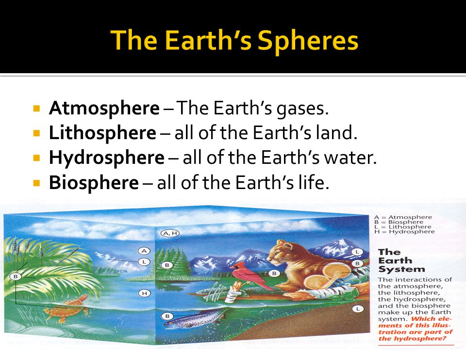The Earth's Spheres Atmosphere – The Earth's gases.
