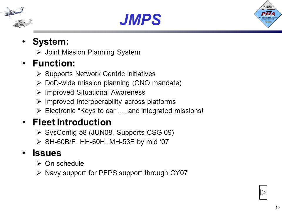 JMPS System: Function: Fleet Introduction Issues