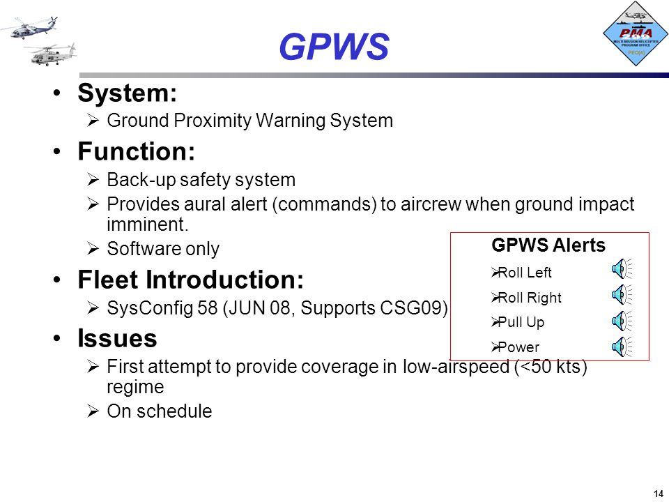 GPWS System: Function: Fleet Introduction: Issues