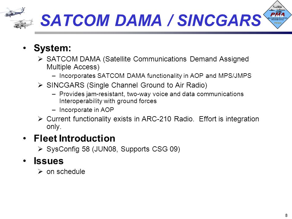 SATCOM DAMA / SINCGARS System: Fleet Introduction Issues