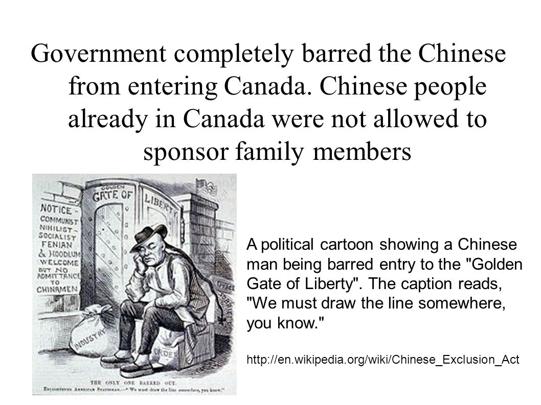 Government completely barred the Chinese from entering Canada