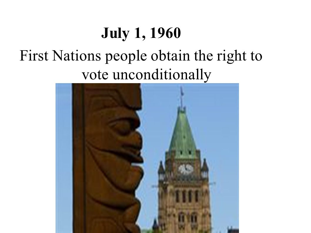 First Nations people obtain the right to vote unconditionally
