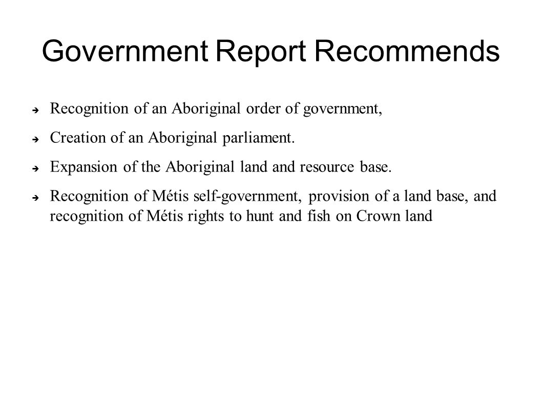 Government Report Recommends