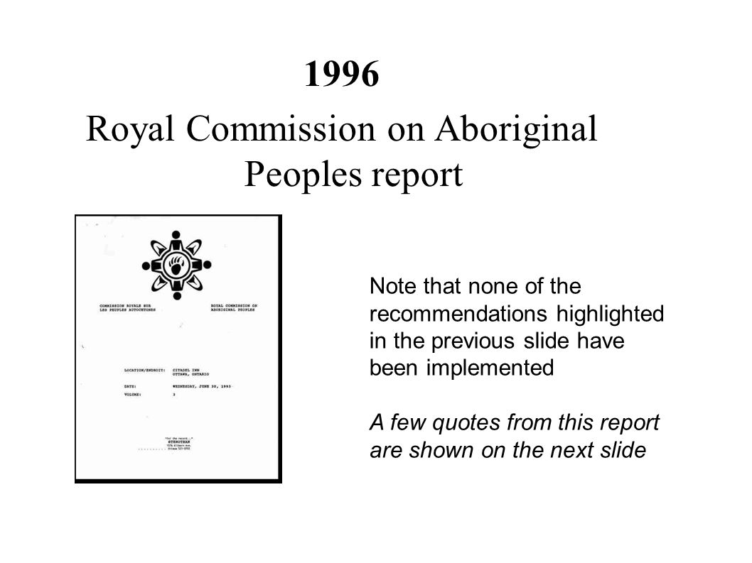 Royal Commission on Aboriginal Peoples report