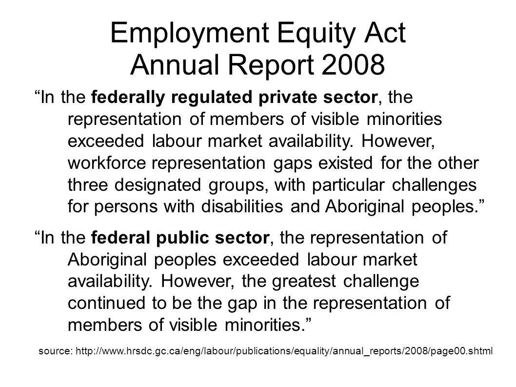 Employment Equity Act Annual Report 2008