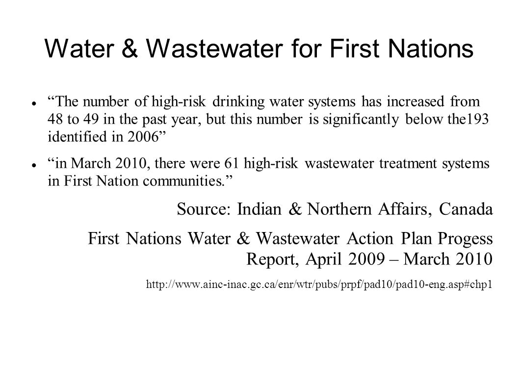 Water & Wastewater for First Nations