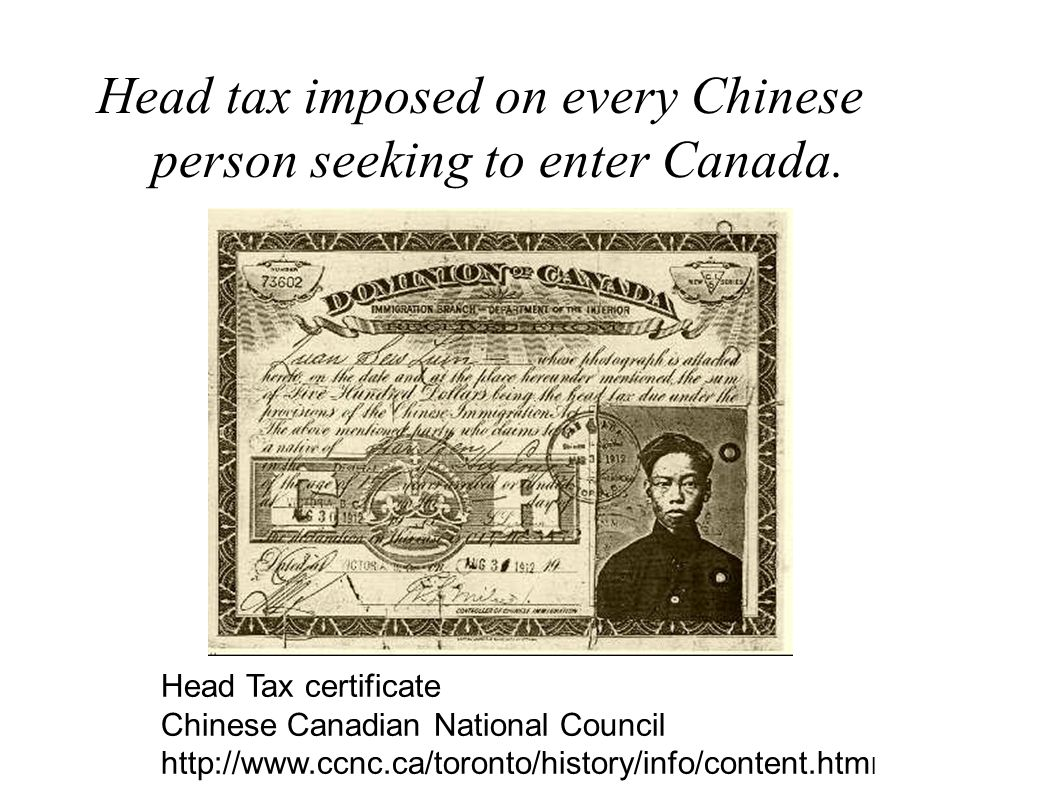 Head tax imposed on every Chinese person seeking to enter Canada.