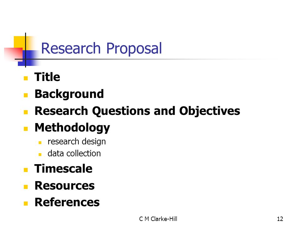 Research Proposal Title Background Research Questions and Objectives