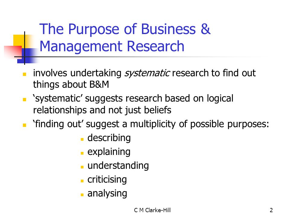 The Purpose of Business & Management Research
