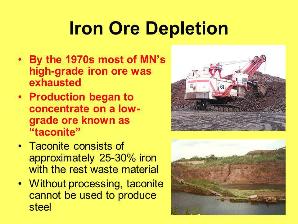 Iron Ore Depletion By the 1970s most of MN's high-grade iron ore was exhausted.