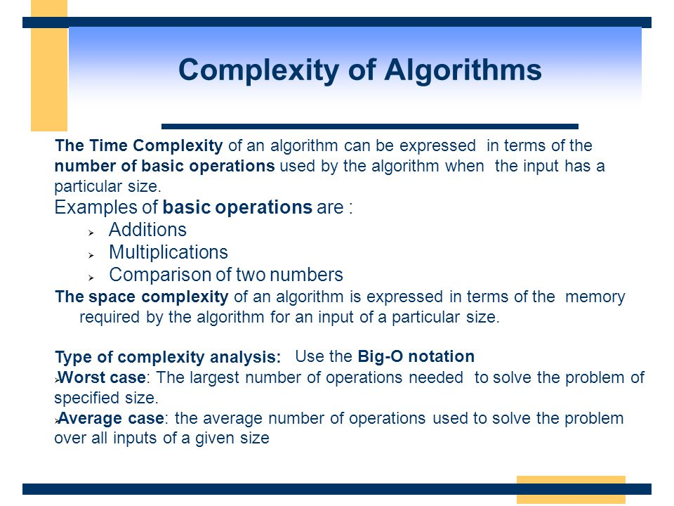 Complexity of Algorithms