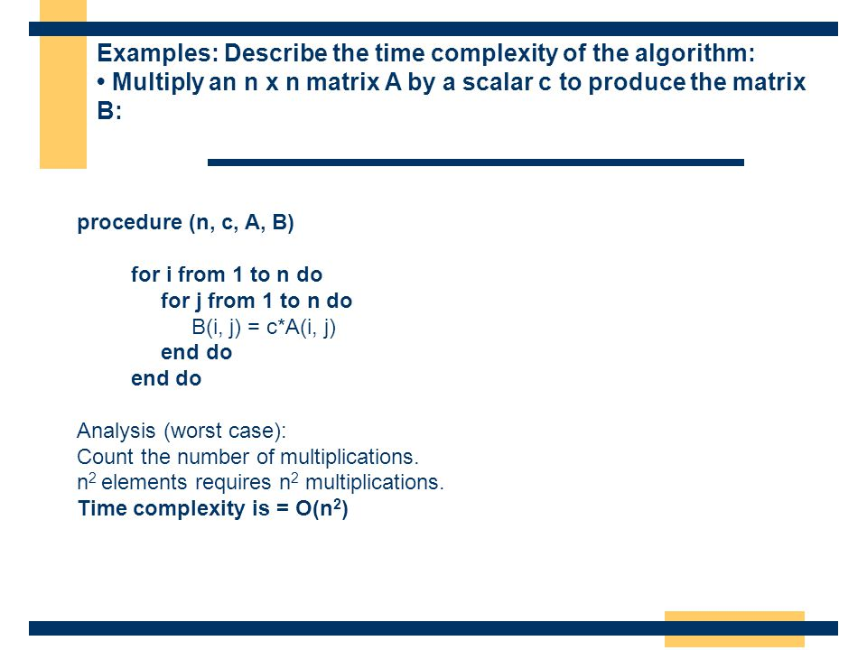 Examples: Describe the time complexity of the algorithm: