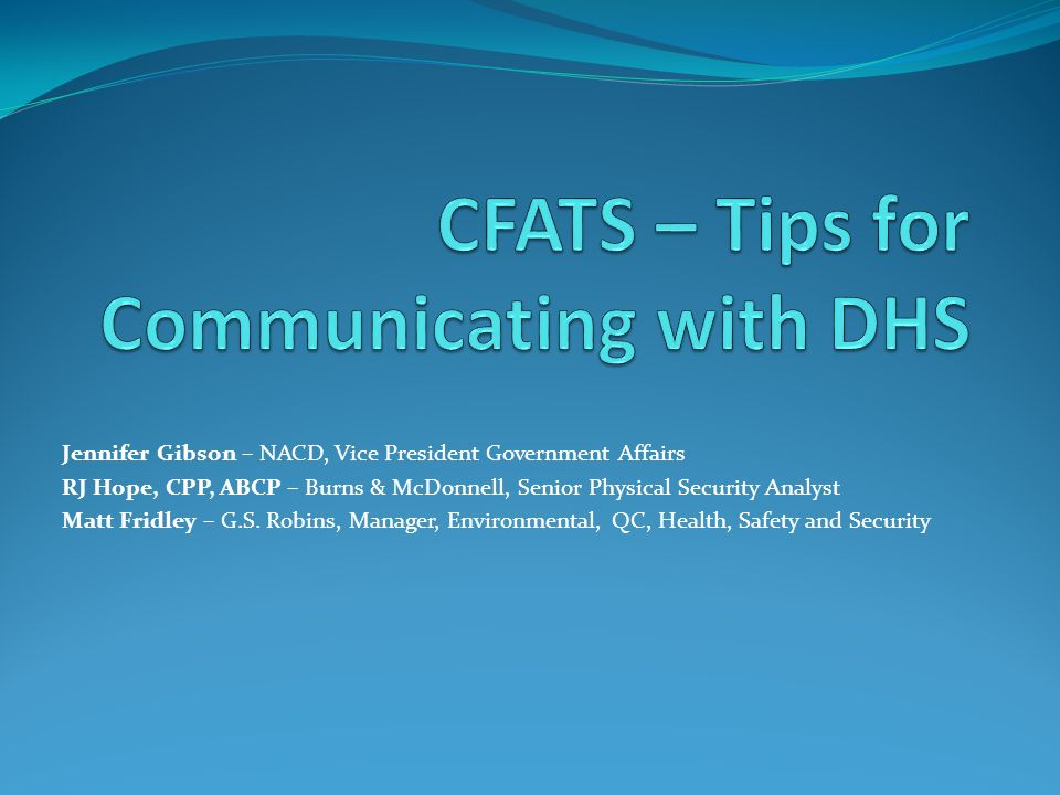 CFATS – Tips for Communicating with DHS