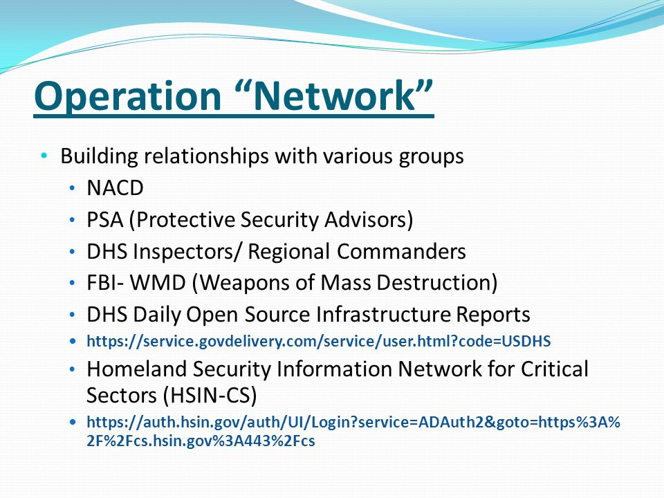 Operation Network Building relationships with various groups NACD