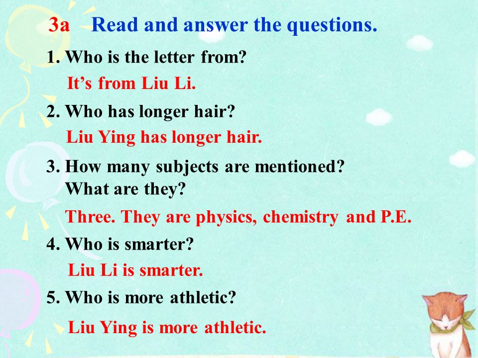 3a Read and answer the questions.
