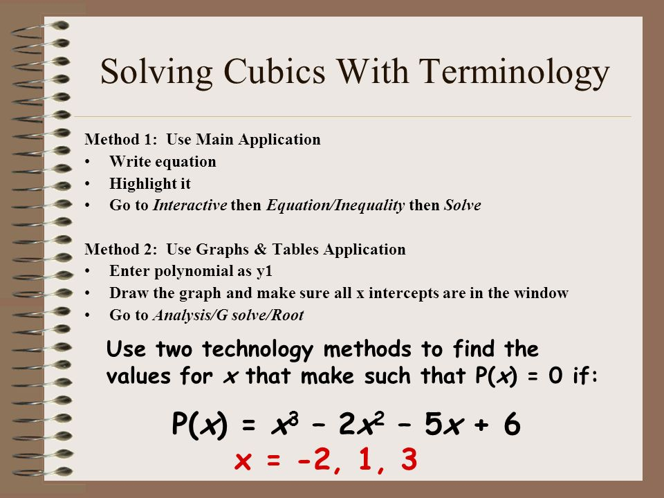 Solving Cubics With Terminology