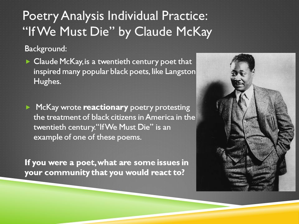 discuss mckays poem america essay America, by claude mckay essay 1103 words 5 pages the poem america by claude mckay is on its surface a poem combining what america should be and what this country stands for, with what it actually is, and the attitude it projects amongst the people.