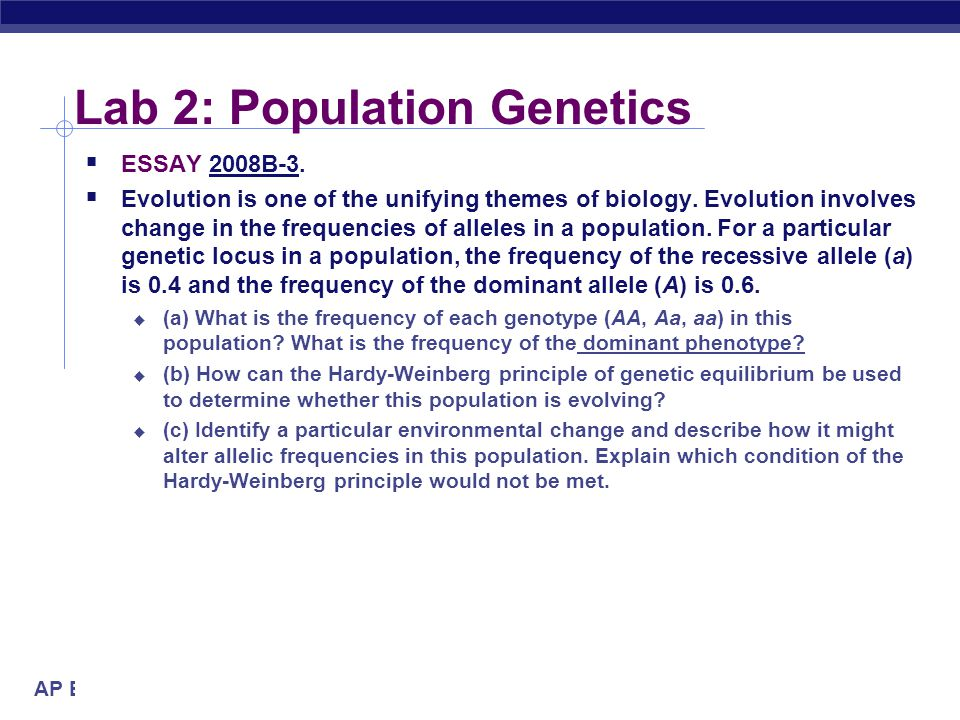 Lab 2: Population Genetics