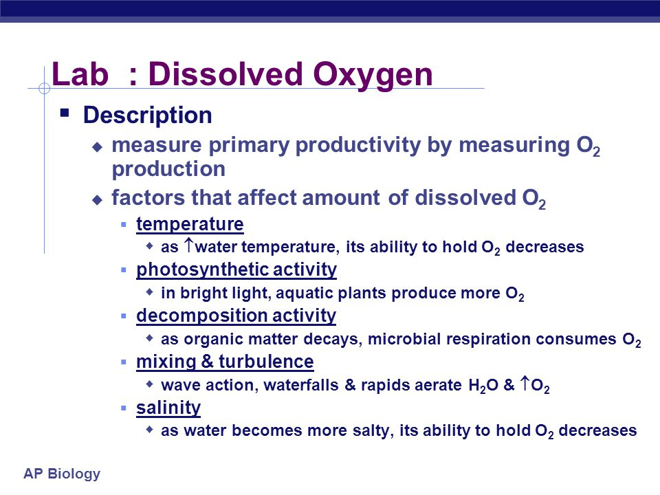 Lab : Dissolved Oxygen Description