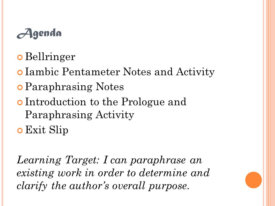 Agenda Bellringer Iambic Pentameter Notes and Activity