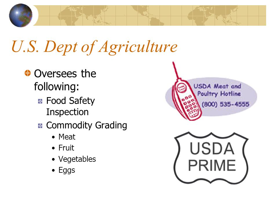 U.S. Dept of Agriculture Oversees the following: