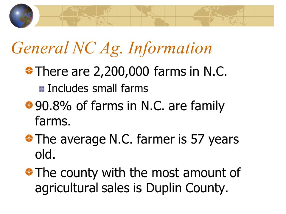 General NC Ag. Information