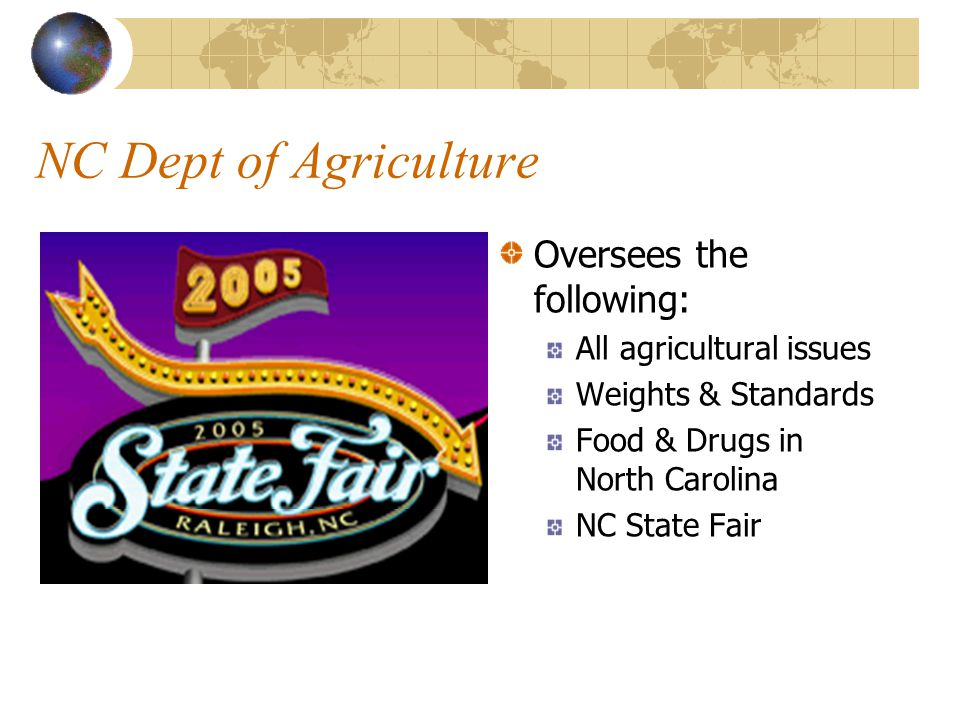 NC Dept of Agriculture Oversees the following: All agricultural issues