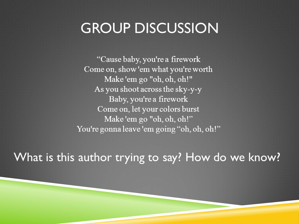 Group Discussion What is this author trying to say How do we know