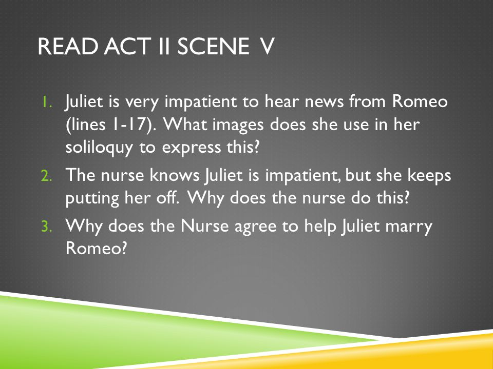 Read Act ii Scene V Juliet is very impatient to hear news from Romeo (lines 1-17). What images does she use in her soliloquy to express this