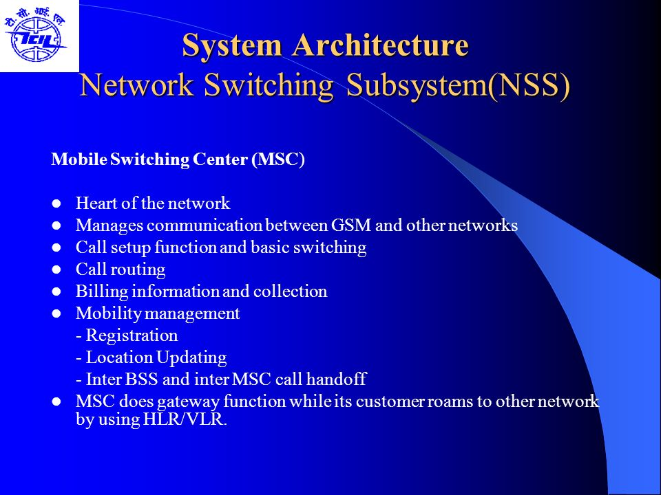 System Architecture Network Switching Subsystem(NSS)