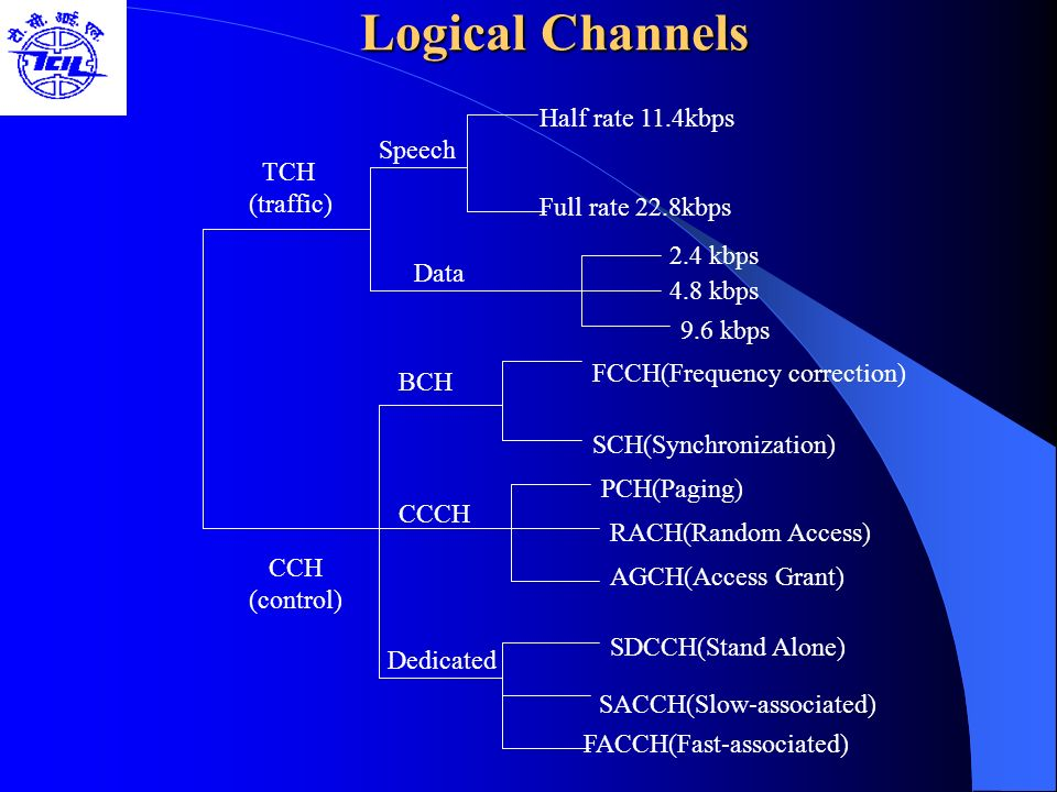 Logical Channels Half rate 11.4kbps Speech TCH (traffic)
