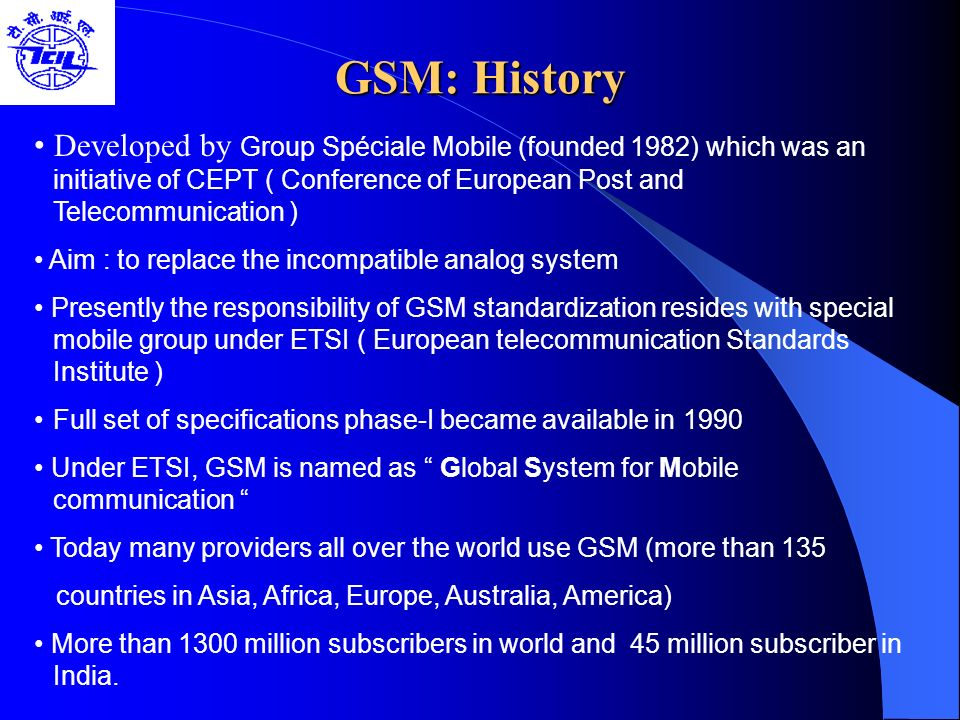 GSM: History