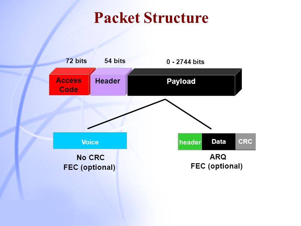 Packet Structure Access Code Header Payload No CRC ARQ FEC (optional)