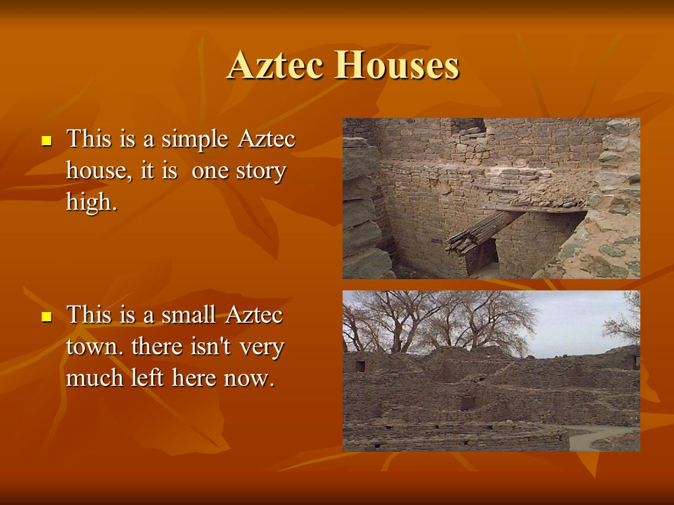 Aztec Houses This is a simple Aztec house, it is one story high.