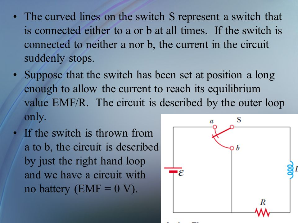 The curved lines on the switch S represent a switch that is connected either to a or b at all times. If the switch is connected to neither a nor b, the current in the circuit suddenly stops.