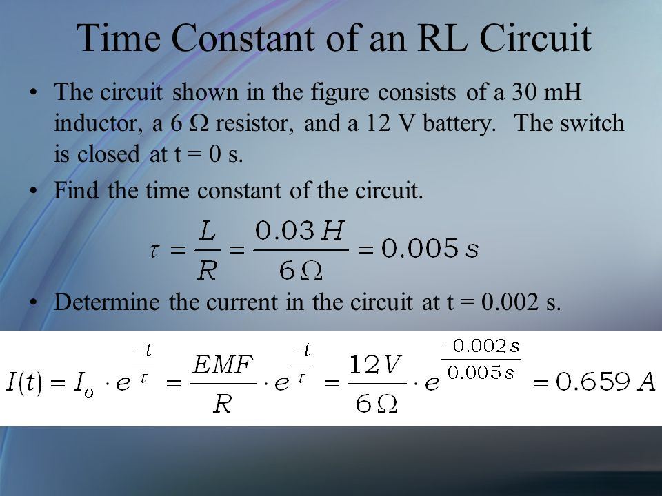 Time Constant of an RL Circuit